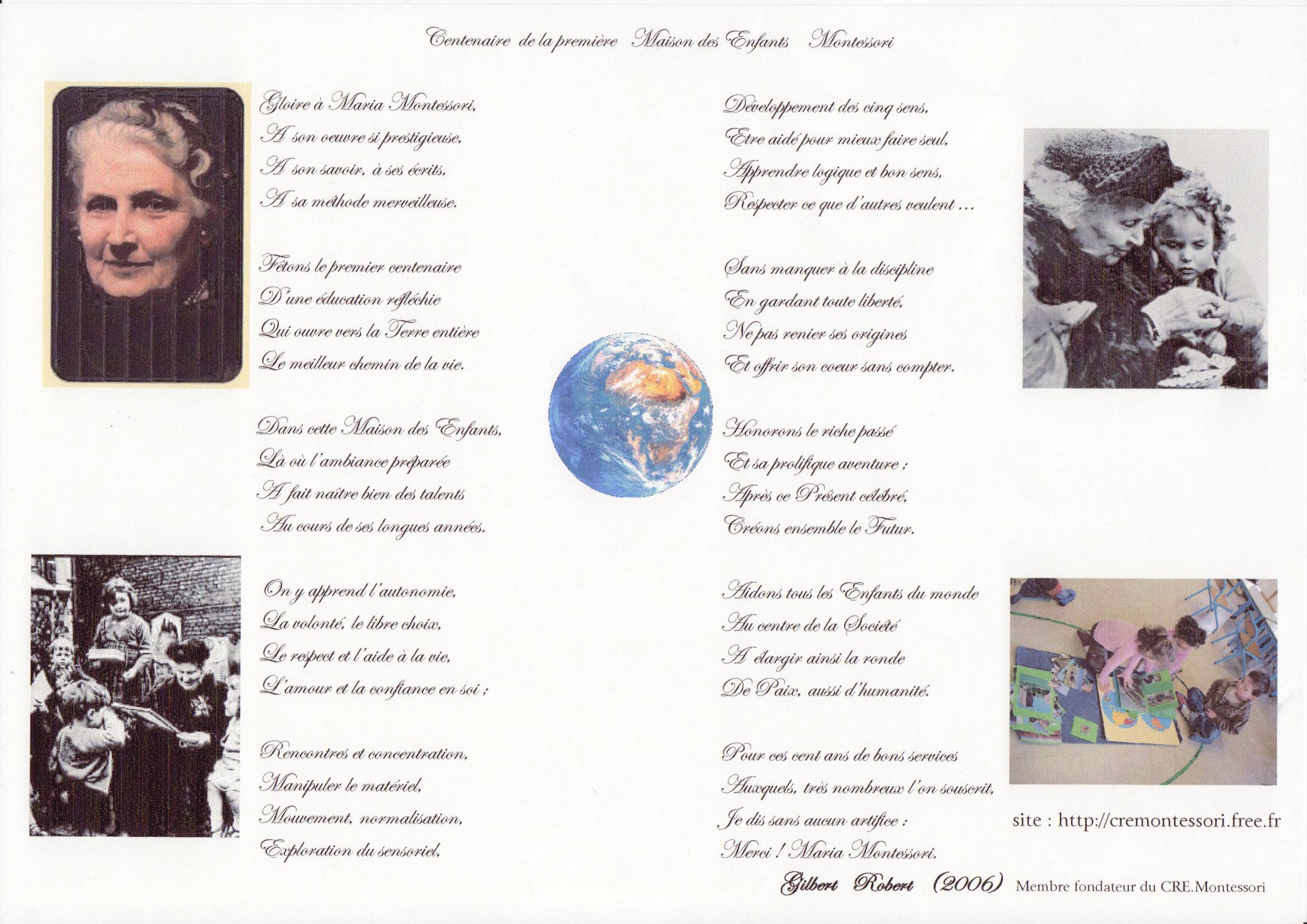 pome maria montessori loccasion du centenaire de la premire maison des enfants gilbert robert 2006 - Maria Montessori Lebenslauf